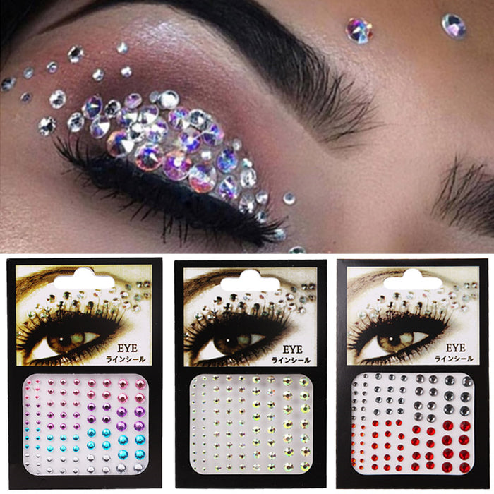 Tattoo Sticker Diamond Makeup Eyeliner Eyeshadow Face Rhinestone Sticker Jewelry Eyes Makeup Crystal Eyes Stickers - Beads-N-Things