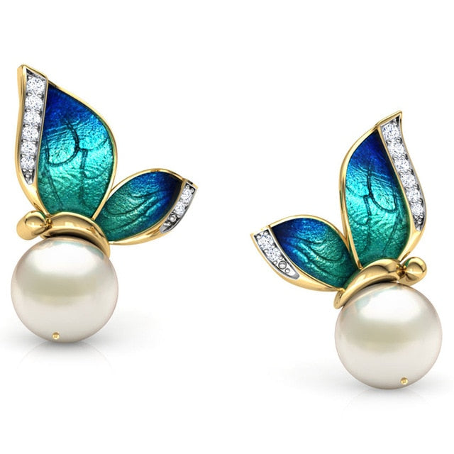 Modern Women Earrings 2019 Fashion Oil Painted Butterfly Design Rhinestone Pearl Stud Earrings For Women Accessories Jewelry - Beads-N-Things