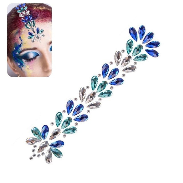 3D Fashion Crystal Rhinestone Sticker Adhesive Shiny Tattoo Glitter Festival Makeup Jewelry for Face Hair Body Adornment DIY - Beads-N-Things