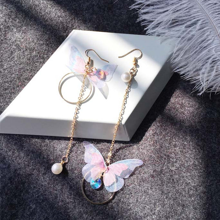 Korea Retro Asymmetrical Exquisite Butterfly Imitation Pearl Alloy Long Wings Earrings for Women's Girl Gift - Beads-N-Things