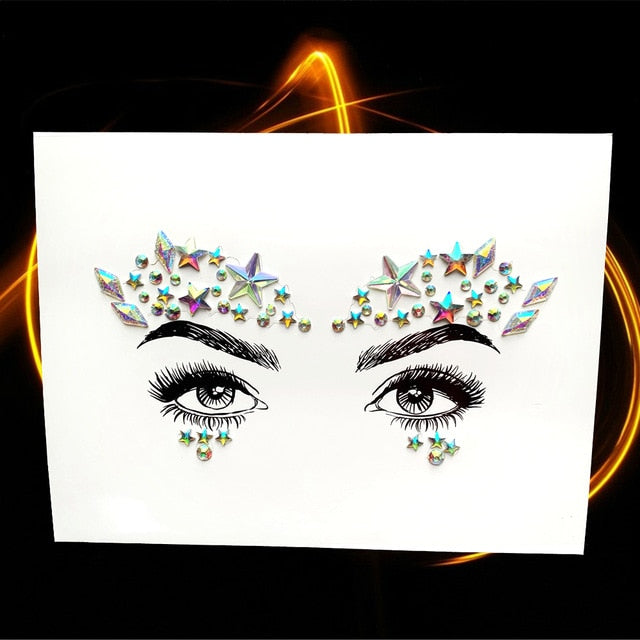 Crystal Face Jewelry Glitter Gems Eyes Tattoos Sticker Eyebrow Forehead Decoration Acrylic Resin Drill Women's Fashion For Party - Beads-N-Things