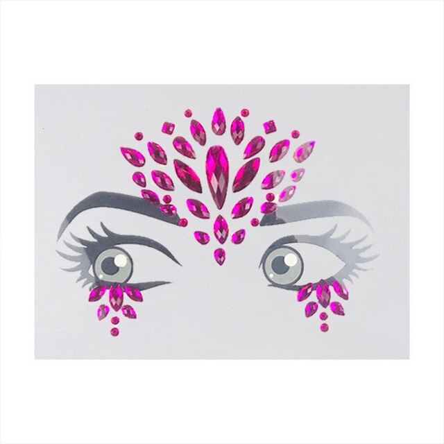 Rhinestone Sticker Environmental Protection Resin Eyebrow Forehead Sticker Jewelry Tattoo Sticker For Festive Party Masquerade - Beads-N-Things