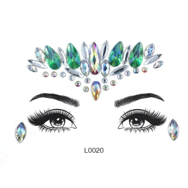 Face makeup rhinestones mixed size eyeshadow glitter diamond for Corner of eye blue red green acrylic diamond face jewelry LT004 - Beads-N-Things