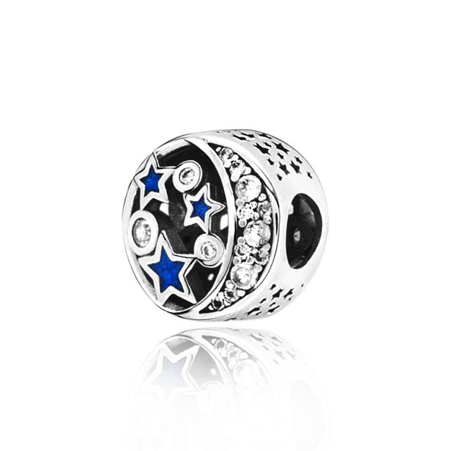 2019 Winter New 925 Sterling Silver Beads Blue Sky Sparkling Star Charms fit Original Pandora Bracelet Women DIY Jewelry - Beads-N-Things