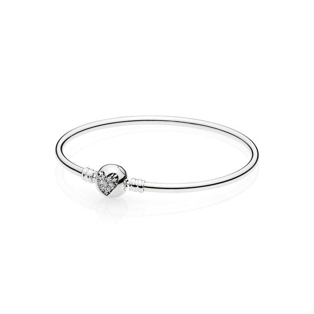 8 Style 925 Sterling Silver Bracelets Charms Heart Buckle Openning Bangles Bracelets for Women fit Diy Beads Charm - Beads-N-Things