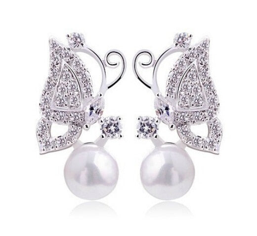 OMH wholesale buy 5pair OFF20% silver gold 18KT white gold Austrian crystals fashion butterfly with pearl Stud Earrings EH185 - Beads-N-Things