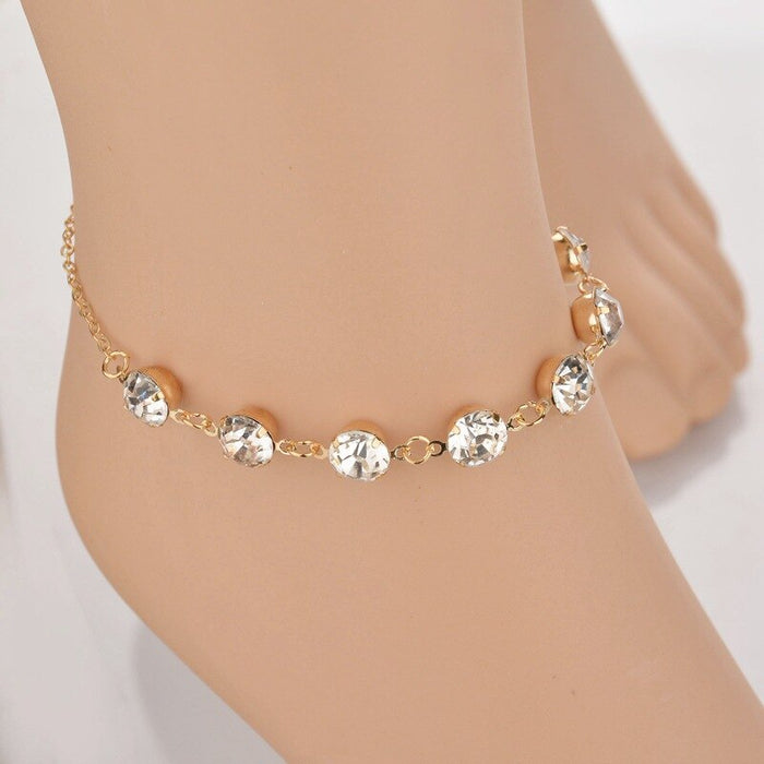 Gold Chain Crystal simple Anklet