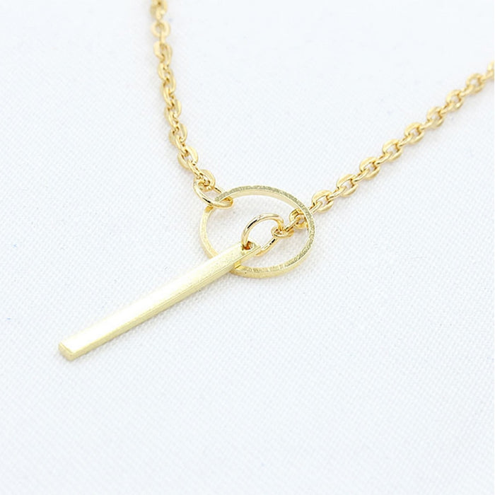 Minimalist Gold Silver Color Circle Necklace