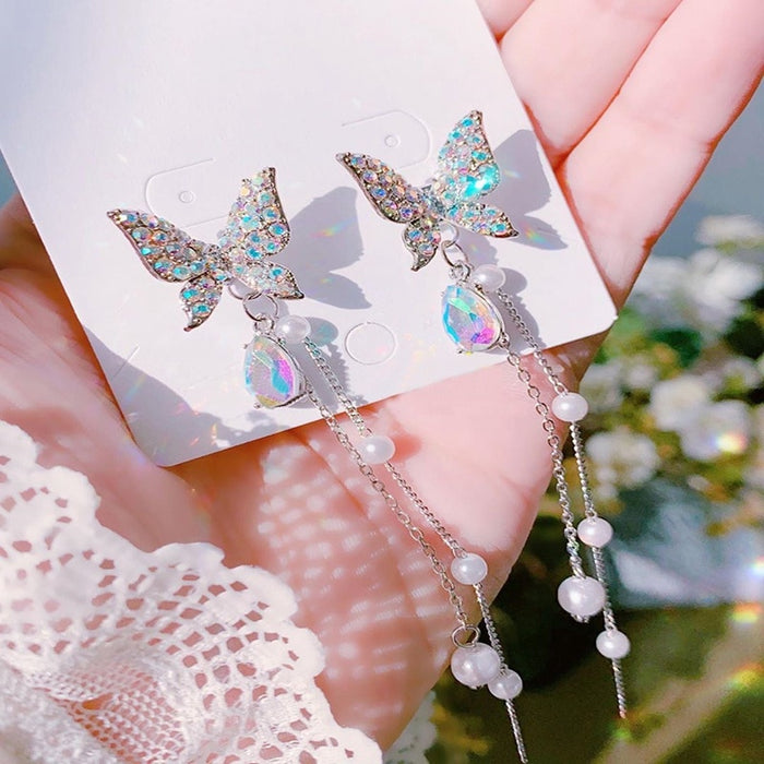 Shiny Butterfly Rhinestone Drop Earrings