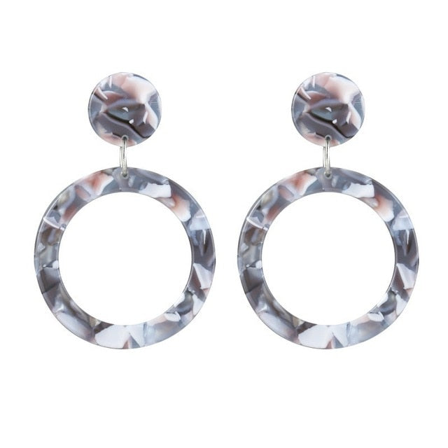 Geometric Round Hanging Earring