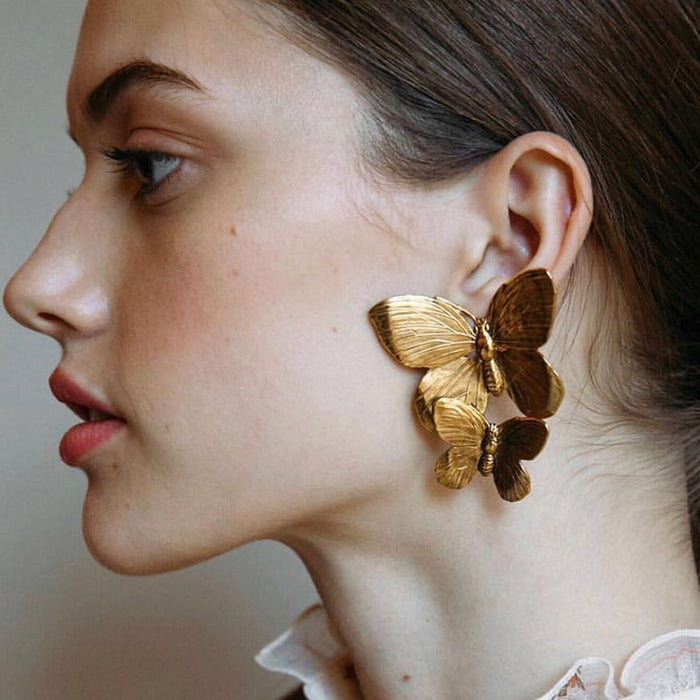 Cool Matt Gold Butterfly Stud Earrings