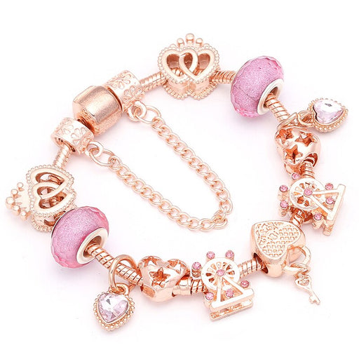 Heart & Key Pendant Rose Gold Color Bracelets