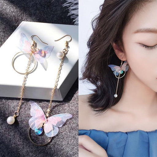 Asymmetric Butterfly Imitation Pearl Earrings
