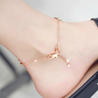 Adjustable Butterfly Crystal Ladies Anklet