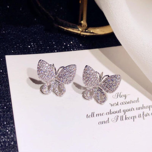 Silver Color Butterfly Stud Earrings