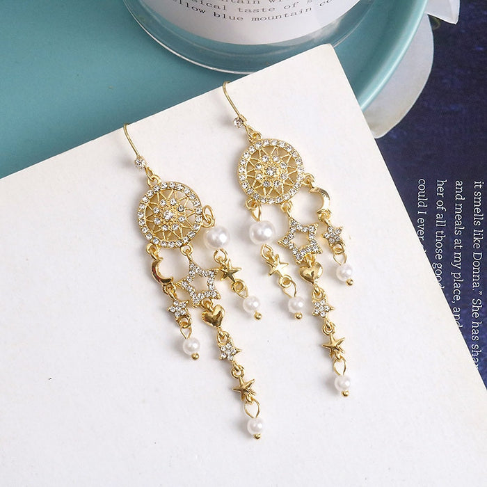 Bohemian Star Pearl Tassel Earrings