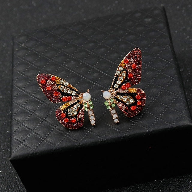 Butterfly Wings Rhinestone Metal Earrings