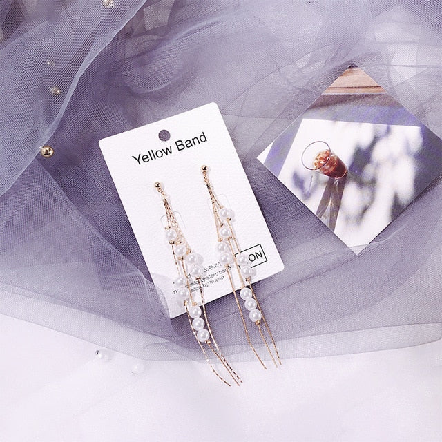 Korean Crystal Pearl Tassel Earrings