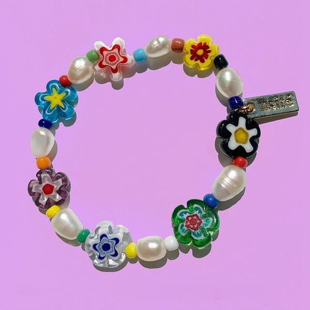 Colorful Acrylic Elastic Flower Beads