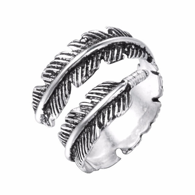 Kinitial Simple Leaf Feather Rings