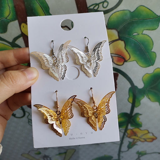 Simple Multi-layer Metal Butterfly Earrings