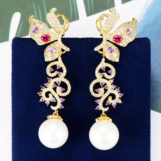 Imitation Pearl Butterfly Charms Earrings