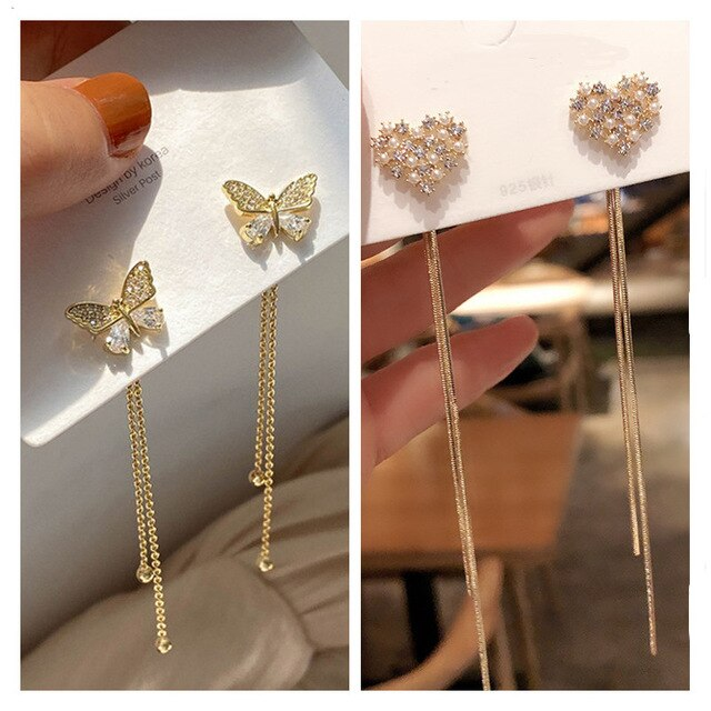 Front and Back Crystal Bow Tassel Earrings