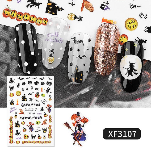 Halloween Nail Stickers Set Nail Art Decals Fall Decoration Reusable Sticker Sheets Decor Accessories Decals Manicure Supplies
