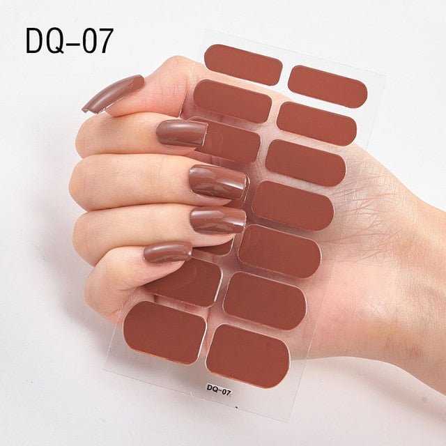 2020 New 14Tips Nail Wraps Laser Shining Full Cover Stickers Decoration for Beauty Nail Art Decals Plain Self Adhesive Manicure