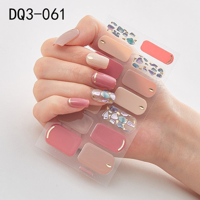 Recuerdame 1Sheet Nail Art Wraps Hot Selling Glitter Full Tips Fashion 3D Nail Stickers Waterproof Decal Manicure Nail Supplies