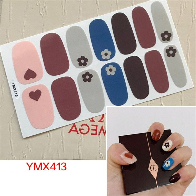 2019 New Arrival Flowers Stickers DIY Self-adhesive Sticker for Nail Art Decals 14 Tips Beauty Nails Vinyls Manicure Decoration