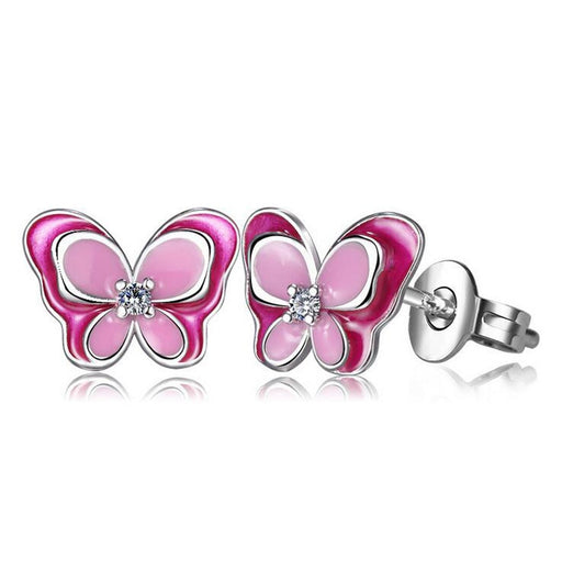 Children Fashion 925 Silver Pink Enamel Butterfly Small Stud Earrings for Baby Kids Girls Women Cute Party Earring Jewelry ED195 - Beads-N-Things
