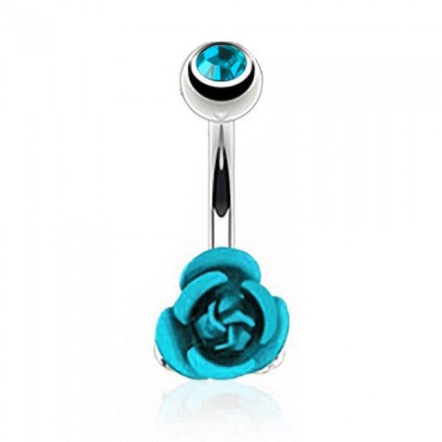 Stainless Steel Flower Rose Piercing Belly Button Ring Barbell Body Jewelry Women Dancing Body Chains Plug M8694 - Beads-N-Things