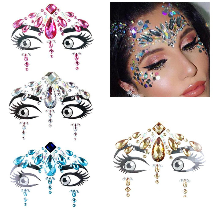 Music Festival Face Diamond Sticker Green Resin Eyebrow Diamond Sticker Festival Party Face Jewelry Tattoo Sticker Masquerade Fa - Beads-N-Things