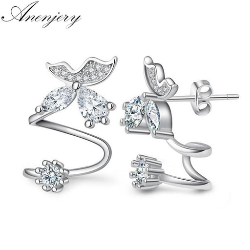 Anenjery 925 Sterling Silver Butterfly Shiny CZ Zircon Stud Earrings For Women pendientes oorbellen boucle d'oreille Gift S-E333 - Beads-N-Things