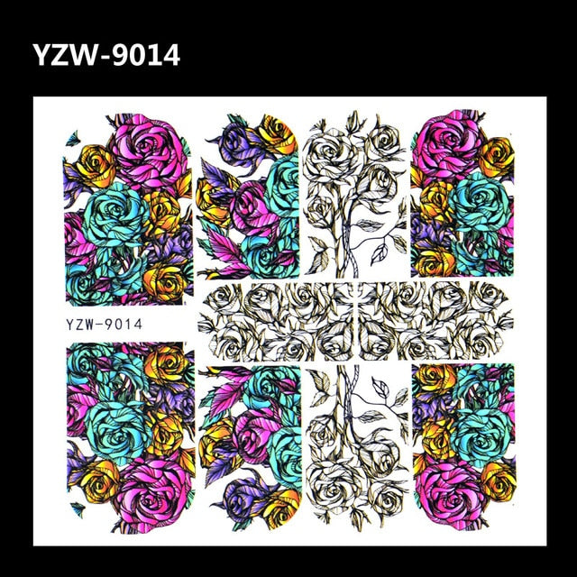 Full Beauty 1pc Black Flower Vine Nail Water Sticker Leaf Lace Design Slider Nail Art Decal Beauty Foils Decoration m3ns167