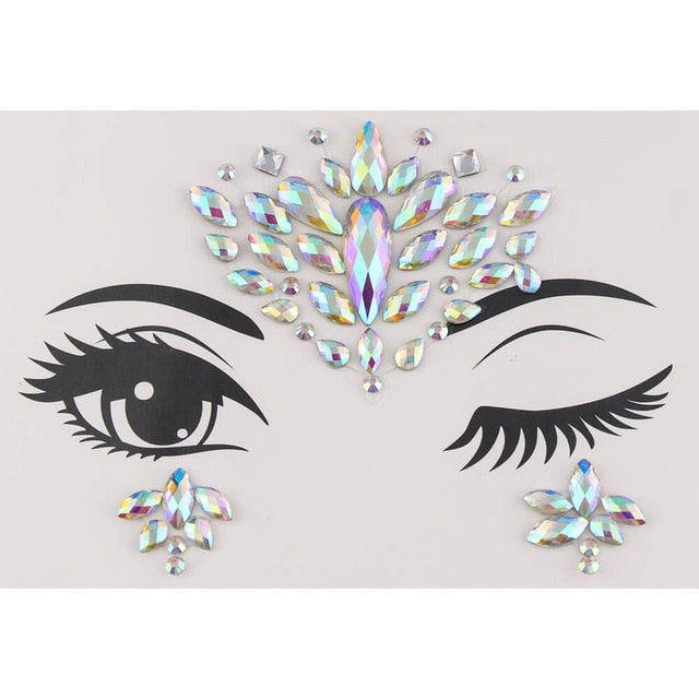 Party Temporary Tattoo Decoration Body Face Jewelry Festival Gems Rhinestone Flash Tattoos Body Art Stickers Beauty Makeup Tools - Beads-N-Things