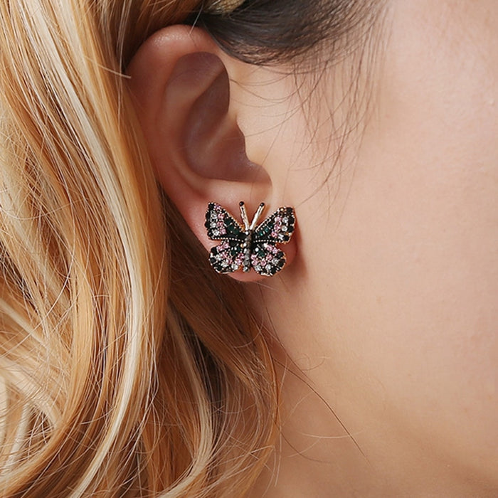 Colorful Rhinestone Inlaid Butterfly Stud Earrings Gold Color Metal Butterfly Piercing Earrings Elegant Women Party Jewelry - Beads-N-Things
