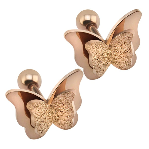2019 New Butterfly Earrings Rose Gold Color Stainless Steel Stud Earrings for Women Child Frosted Butterfly Cartilage Ear Studs - Beads-N-Things