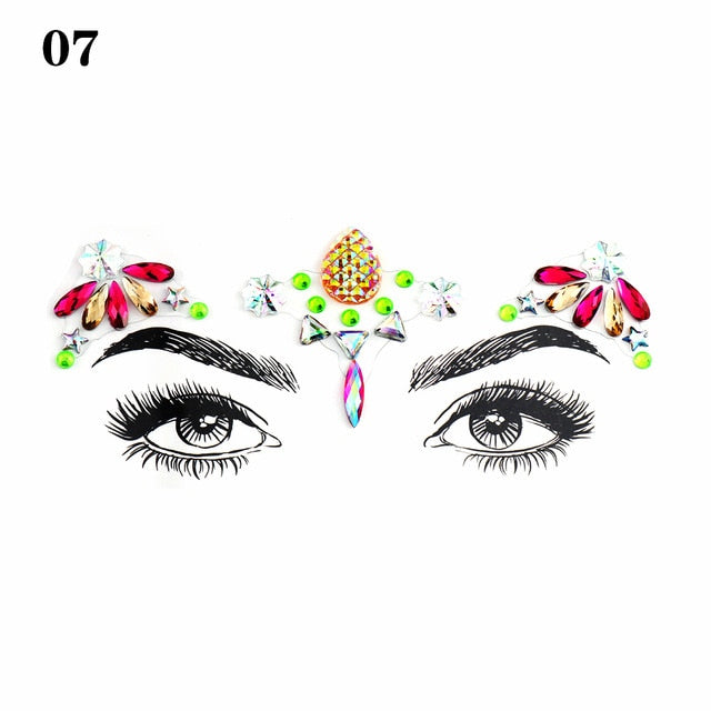 Fashion Face Jewelry Gems Self Adhesive Temporary Tattoo Festival Party Makeup Body Art Gems Rhinestone Flash Tattoos Stickers - Beads-N-Things