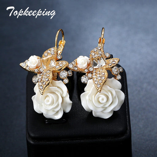 Wedding Romantic Fashion Jewelry Women Crystal Butterfly Resin Rose Flower Drop Earring Girls Boho Ethnic Bridal Dangle Earrings - Beads-N-Things