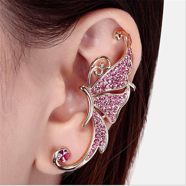 LNRRABC 2pcs/1pc Pink Color Stud Earrings For Women butterfly Piercing Ear Studs Clip Fashion Jewelry Accessories Gift - Beads-N-Things
