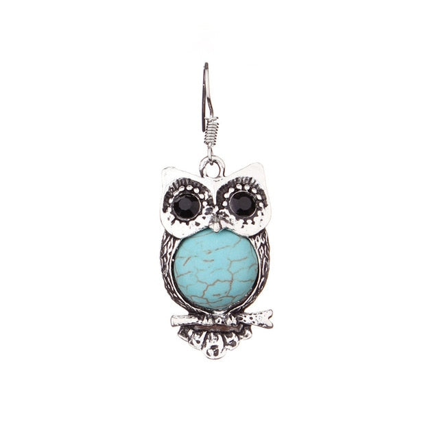 SAUVOO Cute Blue Color Nutural Stone Drop Earrings For Women Long Butterfly Owl Turquoises Charm Pendants Earrings Jewelry - Beads-N-Things
