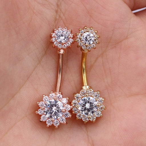 1Pc Flower Dangle Belly Button Rings Body Piercing Navel Bar 14G Double Full Flower Shape body piercing bar Body Bar - Beads-N-Things