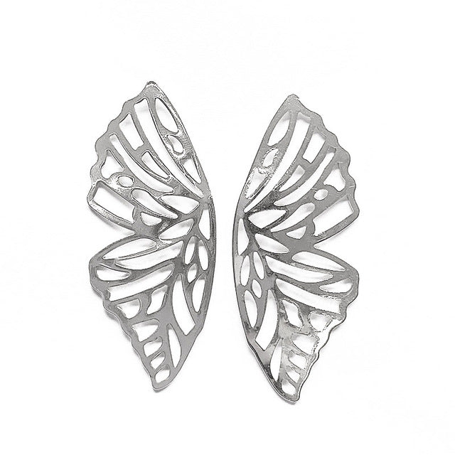ES343 Gold Color Hollow Butterfly Earrings Elegant Big Fan Shaped Metal Women Stud Earrings Fashion Jewelry Accessories 2019 New - Beads-N-Things