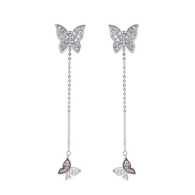 Silver Butterfly Women Earrings | Jewelry Accessories Drop Earrings |