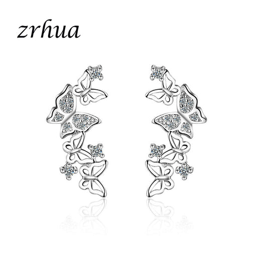 ZRHUA Precious 925 Silver/Gold Color Butterfly Stud Earrings for Women Girls Concise Jewelry Accessories Gift Engagement Bijoux - Beads-N-Things