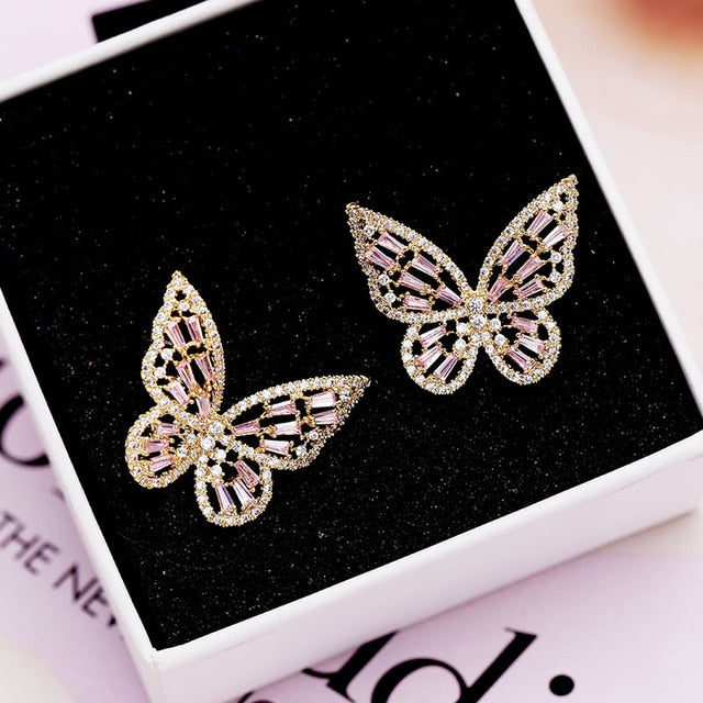 Zircon Butterfly Stud Earrings for Women Girls Silver Gold Pink Blue Color Fashion Wedding Earring pendientes mujer moda 2019 - Beads-N-Things