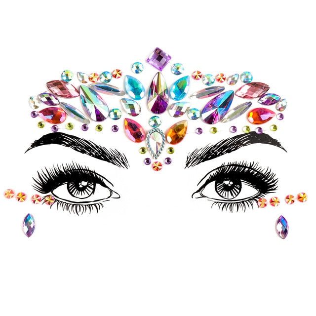 1pc 3D Face Jewels Rhinestones Adhesive Crystal Face Gems Beauty Body Glitter Tattoo Art Eyebrow Face Eye Body Jewelry for Party - Beads-N-Things