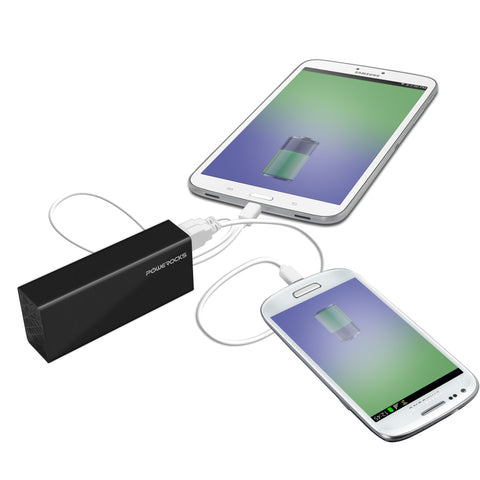 Powerocks Rose Stone charging an iPad or a smartphone.
